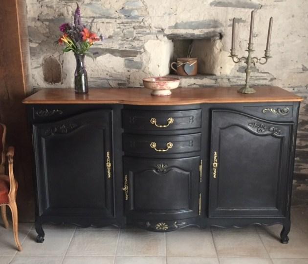 Buffet Ancien Peint Noir Le Specialiste Du Meuble Ancien
