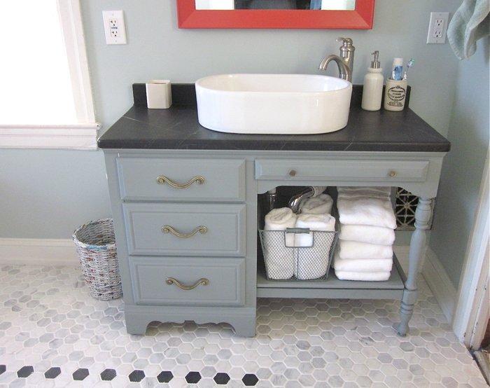 Meuble ancien pour vasque le specialiste du meuble ancien - Meuble salle de bain avec vasque a poser ...